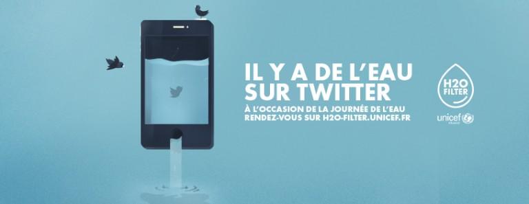 Cette année encore, l'Unicef et Publicis Conseil mobilisent les utilisateurs de Twitter à filtrer leurs tweet pour les transformer en eau potable