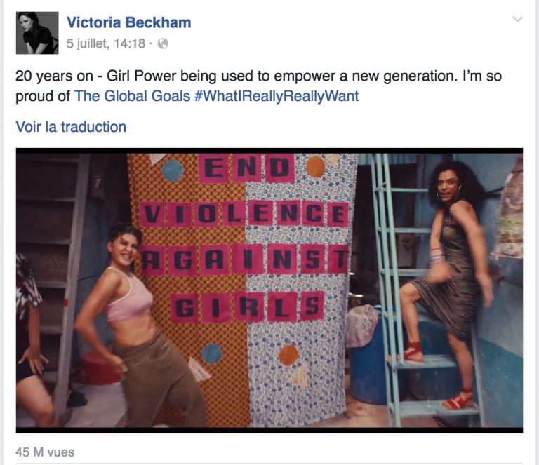 Victoria Beckham a partagé la vidéo sur sa page Facebook lui donnant une belle résonance