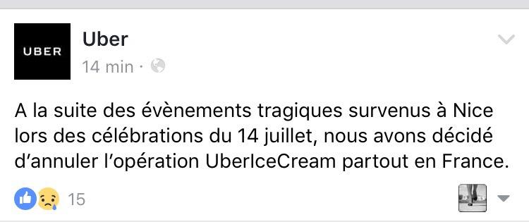 message facebook posté par Uber suite aux événements tragiques survenus à Nice