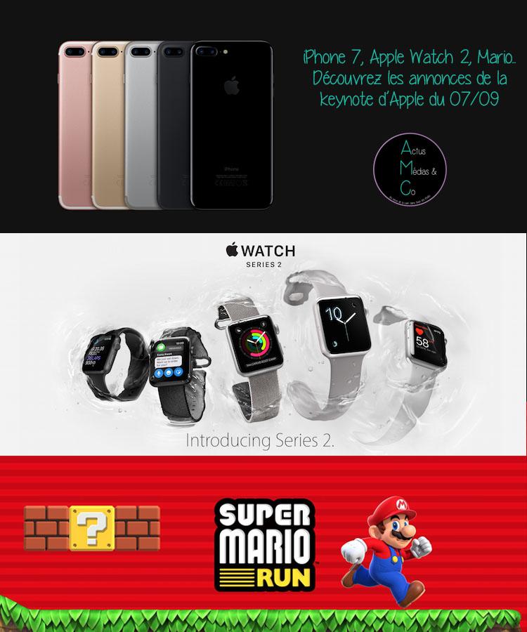 L'iPhone 7, l'Apple Watch 2 et l'arrivée d'un jeu Mario sont les trois grosses annonces de la keynote d'Apple du 7 septembre 2016