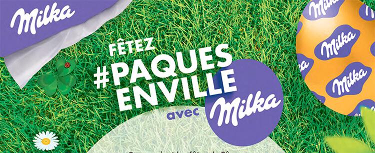 A l'approche de Pâques, Milka veut donner la chance à tous les français de profiter de participer à une chasse aux oeufs, même sans jardin avec son opération #PAQUESENVILLE