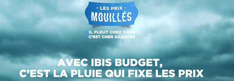 Ibis Budget et l'agence Marcel lancent une campagne insolite, Les Prix Mouillés, basée sur la pluviométrie de votre ville.