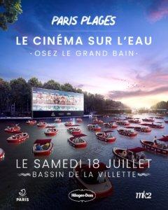 Pour célébrer la réouverture de Paris Plage 2020, la ville de Paris et l'agence Ubi Bene, en partenariat avec mk2 et Häagen-Dazs, mettent en place un cinéma en plein air géant sur le bassin de la Villette.