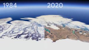 Pour faire la promotion de la nouvelle fonctionnalité timelapse de Google Earth, le géant américain a diffusé une vidéo qui retrace l'évolution de la Terre de 1984 à 2020